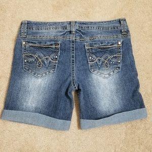 Truce Shorts - Truce | Bermuda Cuffed Jean Rhinestone Shorts
